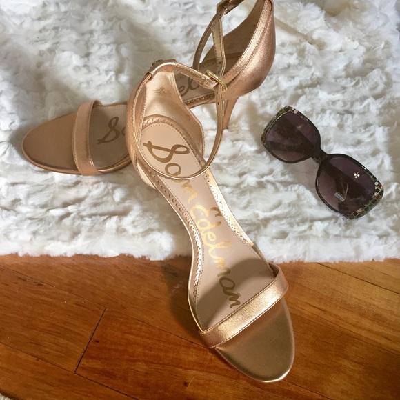 d55098bd1e20 Sam Edelman Authentic  Eleanor  Gold Strap Heels